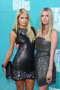 Paris Hilton, Nicky Hilton at the 2012 MTV Movie Awards Arrivals, Gibson Amphitheater, Universal City, CA 06-03-12 Royalty Free Stock Image