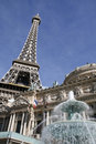 Paris hotel with Eiffel tower at Vegas Royalty Free Stock Images
