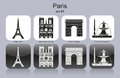 Paris icons landmarks of set of monochrome editable vector illustration Stock Photos