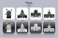 Paris icons landmarks of set of monochrome editable vector illustration Royalty Free Stock Photos