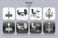 Paris icons landmarks of set of monochrome editable vector illustration Stock Photo