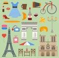 Paris icons vector set cuisine traditional modern France culture symbols. Europe Eiffel Paris icons fashion wine