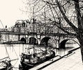 Paris ile de la cite pont neuf vector illustration of hand drawing Royalty Free Stock Image