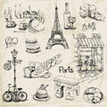 Paris illustration set for design and scrapbook in Royalty Free Stock Photo