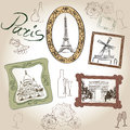 Paris illustration set love paris frame vintage collection french cafe eiffel tower symbol hand drawn picture in with design Stock Photography