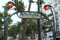 Paris july art nouveau metropolitan sign near trocadero in july france metro metro de is a symbol of the city Stock Photography