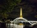Paris, July 2017: Eiffel tower at night light show. Paris Royalty Free Stock Photo