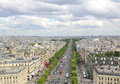 PARIS, JULY 2017: View of the Champs Elysees from the Arc de Tri Royalty Free Stock Photo