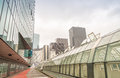 PARIS - JUNE 9, 2014: La Defense modern buildings. La Defense is