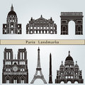 Paris landmarks and monuments on blue background in editable vector file Stock Image