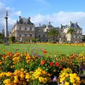 Paris luxembourg france famous landmark palace and park unesco world heritage site square composition Stock Image