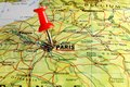 Paris map with pin close up of on a red Royalty Free Stock Images