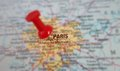 Paris map red pin in of france Royalty Free Stock Image