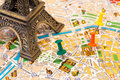 Paris map visiting places detailed of with a detail of eiffel tower and pins marking of interest in the city Royalty Free Stock Photography