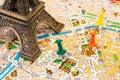 Paris map visiting places Royalty Free Stock Photo