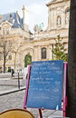 Paris - Menu in a restaurant Royalty Free Stock Photography
