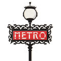 Paris metro sign illustration of an old subway with lamp Royalty Free Stock Photo