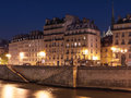 Paris before midnight view by night to ile de la cité Stock Photos