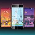 Paris mobile app application background wallpaper template mockup