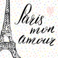Paris my love lettering sign, french words, with Hand drawn sketch eiffel tower on abstract background vector Illustration