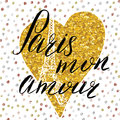 Paris my love lettering sign, on gold glitter heart with Hand drawn sketch eiffel tower on abstract background vector Illustration