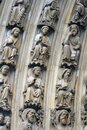 Paris, Notre-Dame cathedral, portal of the Virgin, the archivolts are populated by the Heavenly Court Royalty Free Stock Photo