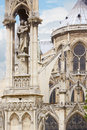 Paris notre dame holy virgin statue on the gothic cathedral Royalty Free Stock Image