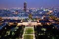 Paris panorama, France at night. Royalty Free Stock Photography