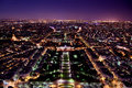 Paris panorama, France at night. Royalty Free Stock Images