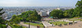 Paris panorama from the top of monmatre france july aerial view steps sacre coeur church at Royalty Free Stock Photo
