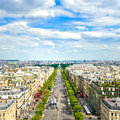 Paris panoramic aerial view of champs elysees france boulevard europe Royalty Free Stock Image