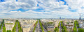 Paris panoramic aerial view of champs elysees and other building landmarks boulevard Stock Image