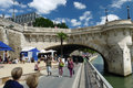 Paris plages beaches france view of plage and the pont neuf bridge are temporarily transformed roads into along the seine river Stock Photo