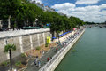 Paris plages beaches france view of plage and the seine river are temporarily transformed roads into from july to august Stock Photography