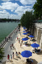 Paris plages beaches france view of plage and the seine are temporarily transformed roads along the seine river into center of Stock Photo
