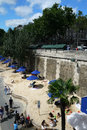 Paris plages beaches france view of plage are temporarily transformed roads along the seine river into center of from july to Royalty Free Stock Images