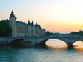 Paris pont au change view to with court of cassation Royalty Free Stock Photography