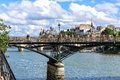 Paris the pont des arts passerelee des arts pedestrian bridge Stock Images