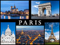 Paris postcard: Notre Dame, Eiffel Tower, Basilica of Sacred Heart, Arc of Triumph and a skyline of the city.