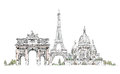 Paris, Sacred Heart in Montmartre,  Thriumph arch and Eiffel Tower, sketch collection Royalty Free Stock Photo