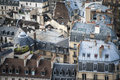 Paris seen from above rooftops tower of notre dame Stock Photo