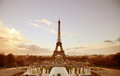 Paris sepia cityscape with Eiffel tower Royalty Free Stock Photo