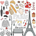 Paris set vector retro decor Royalty Free Stock Image
