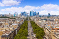 Paris skyline Champs Elysees and La Defense Royalty Free Stock Photo