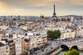 Paris skyline with eiffel tower at sunset on september in france is one of the top tourist destinations in europe Stock Photography
