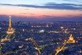 Paris skyline by night Royalty Free Stock Photo