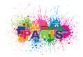Paris skyline paint splatter text color vector illustration france city outline silhouette abstract colorful isolated on white Stock Photography