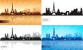 Paris skyline silhouettes set vector illustration Royalty Free Stock Photos