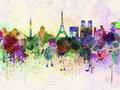 Paris skyline in watercolor background Stock Image