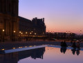 Paris square in front of louvre at night a Stock Images